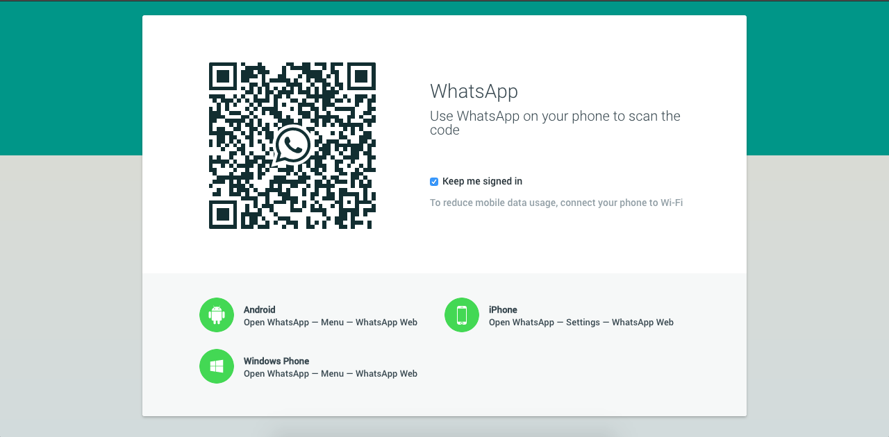 The homepage for web.whatsapp.com